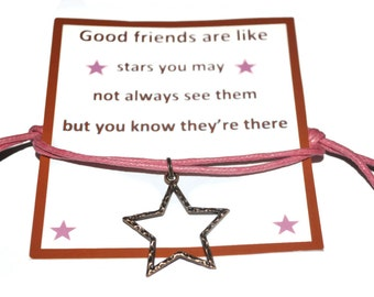 Star charm bracelet with Friendship quote note card