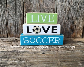 Soccer sign, LiVE LOvE SoCceR, soccer blocks, mini wood stacker, block set, sport blocks, soccer fan sign, soccer decor, sports decor