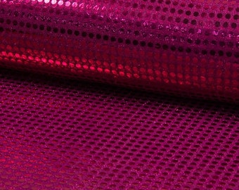 6mm Sparkling Sequin Fabric Material Glitter Sparkle - 6mm sequins - 115cm wide RASPBERRY