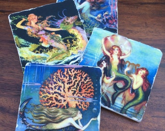 Mermaid coasters, natural stone tile. Set of 4.