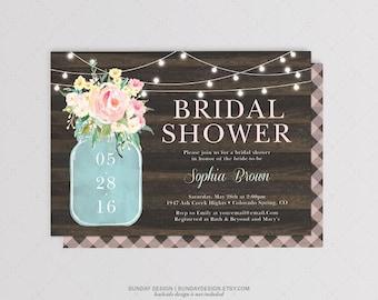Watercolor Jar Bridal Shower Invitation Card - DIY Printable Digital File - Watercolor Flowers