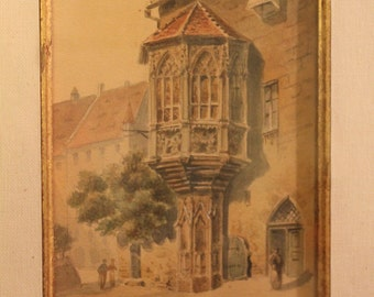 Pair of framed and matted vintage German watercolor etchings