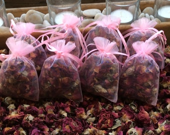 1 fragrant Rose petals buds Sachet, Wedding Favor toss, Baby Shower, Party favor, Dried rose petals, Organza Bags, buy individual