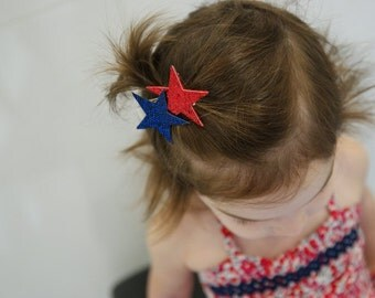 Baby/Child/Girls Red Blue Glitter Stars Hair Clip, Red White Blue Nautical Clip, Fourth of July Hair Accessories, Child Summer Photo Prop