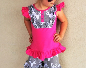 Hot Pink & Grey Deer Ruffle Short Set - BOUTIQUE outfit