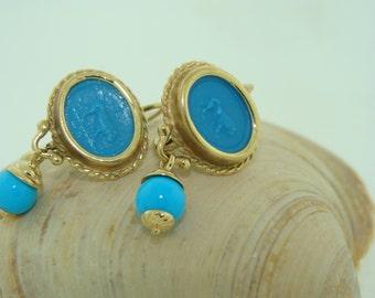 14KY Tourquiose Color Leverback Earrings