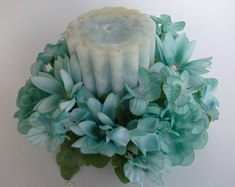 Teal Silk Floral Candle Ring
