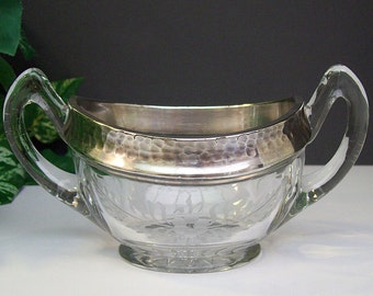 Antique 1920's HEISEY Hammered Silver Overlay Rim Sugar Bowl – Handled – Etched Design – Marked – Heavy Glass – Not Perfect -