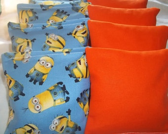 8 ACA Regulation Cornhole Bags -  The Minions and Solid Orange Bags