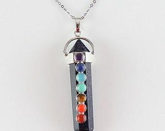 Blue Goldstone Chakra Pendant