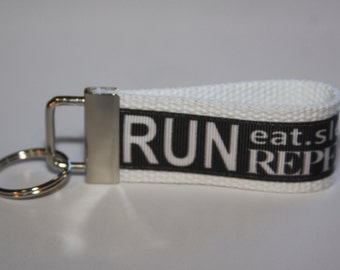 Key chain wristlet key fob with RUN Ribbon, key chain for runners, key chain for athletes
