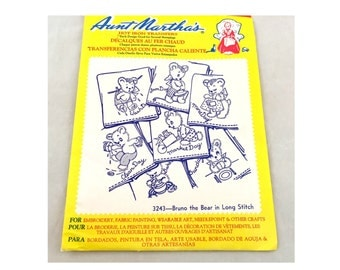 Aunt Martha's Bruno the Bear in Long Stitch, Hot Iron Transfers, Days of the Week Towel Napkin Handkerchief, Embroidery, Fabric Painting