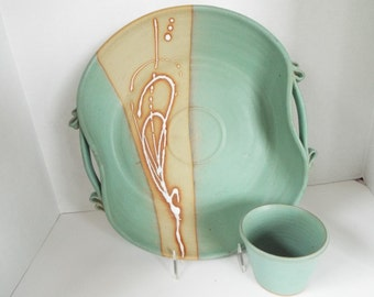 """large 14"""" studio pottery stoneware serving platter southwestern dip chip tray hand thrown signed"""