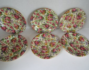 set of 6 Royal Winton English china  chintz saucers Grimwades Summertime floral chintz plates rose daisy