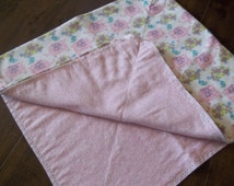 Ready to Finish - Hemstitched Receiving Blanket. Large and ready to ship. Perfect pastel pink shades with elephants and turtles.