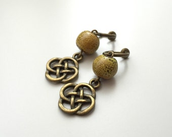 Clip earrings, yellow ceramic beads, Chinese knot metal bronze