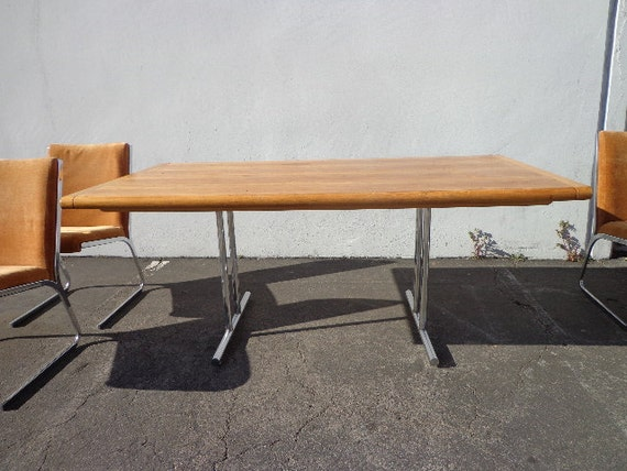 Dining Table Mid Century Modern MCM Milo Baughman Inspired Wood Chrome