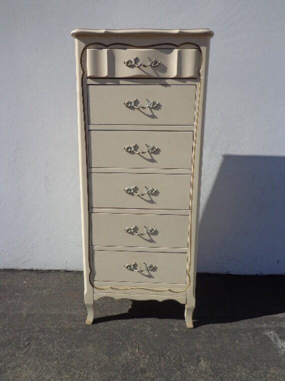 French Provincial Lingerie Chest Tall Dresser Drawer Bedroom