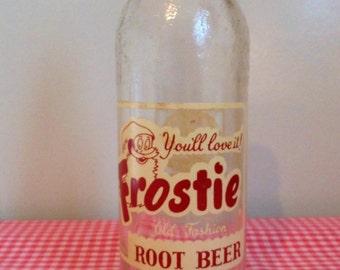 Vintage Frostie Root Beer Bottle, Santa, glass, 1960s, 1950s