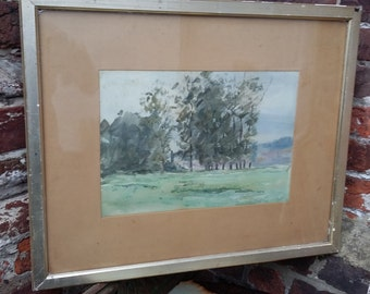 Vintage Watercolour of Trees Copse