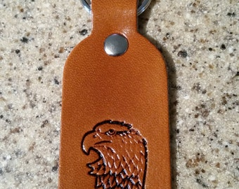 Leather eagle key chain, key fob, key ring, key tag, keychain