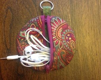 Round Zip Earphone Case