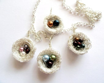 1,2,3,4,5,6,7,8,9,10, pearl birthstone bird nest necklace,custom grandmother necklace,swarovski pearl nest pendant