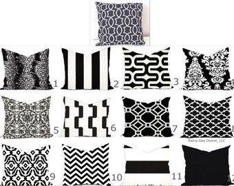 Pillows Outdoor Indoor Custom Cover size include 16x16, 18x18 - Shades of Black and White Modern Geometric Block Print Quatrefoil Tribal