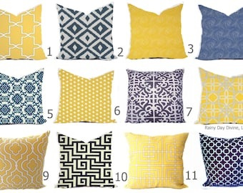Outdoor Pillows or Indoor Custom Cover - Navy Royal Blue Yellow Gold Sunflower Modern Geometric