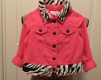 Baby girls pink jean jacket, size 2T