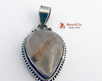 SaLe! sALe! Tear Drop Pendant Sterling Silver Rutilated Quartz