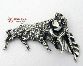 SaLe! sALe! Matador Toro Bull Figter Brooch Sterling Silver Eb66