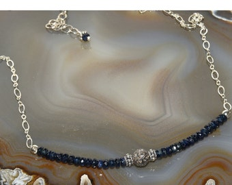 Blue Sapphire & Diamond Necklace Sterling Silver and Midnight Blue Necklace
