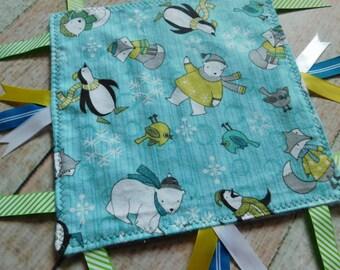Sensory Blanket - Sensory Toy - Activity Blanket - Baby Lovey - Minky Blanket - Ribbon Blanket - Baby Comforter - Calm Blanket