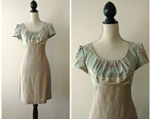 ON SALE Aztec patterned cap sleeve dress with linen bottom in pale blue and pastels, southwestern, tribal print