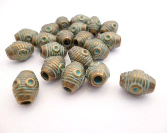 40 pcs 6x8mm hole 2 mm _PA011432_Brass Aged Patina Beads_KAT_Of 6x8 mm_pack 40 pcs