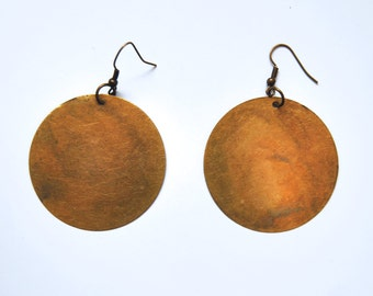 Antique Brass Circle Earrings
