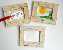 Birch bark picture frame, personilized handmade picture frame in 20 measures, natural wood rustic frame with stand holder