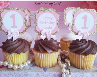 Pink and Gold cupcake toppers. Pink and gold birthday. Pink and gold party. Pink and gold first birthday. Pink and gold baby shower