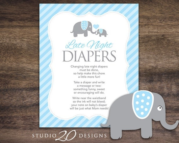 Instant download blue elephant late night diapers 8x10 blue for Baby shower diaper decoration game