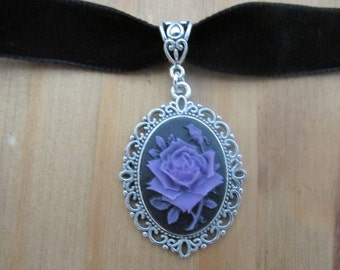 Purple on Black Rose Cameo Choker