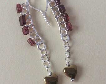 Garnet and pyrite earrings