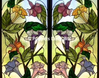 dollhouse beautiful! CHOICE OF 5 dolls house set of 2 doors stained glass effect lumiplex plastic panels -use in other crafts too