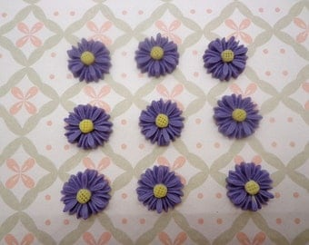 Flower Cabochons Resin Flowers 50pcs Purple Color Resin Sunflower Charms--14mm