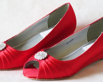 ALICIA Collection - WeDDING WEDGES - Cherry Red - Red Satin with Silver Brooch