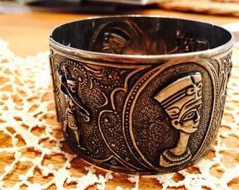 Vintage Egyptian Revival Wide Sterling Silver Bangle Bracelet
