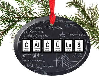 Periodic Table Calculus Math Beveled Glass Ornament