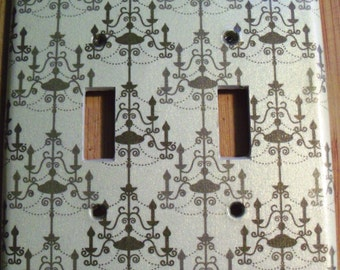 Decorative Double Light Switch Plate Cover - Pattern: Pearlized Chandelier