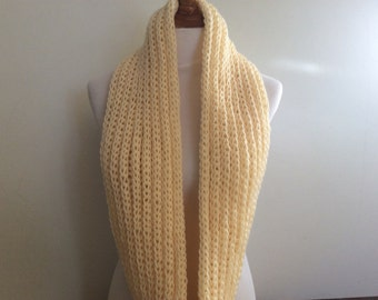 Knitted Chunky Infinity Scarf, Sincerely Cream Color Scarf, Soft, Accessory, Circle Infinity Scarf, Scarf, Neck Warmer, Circle Scarf