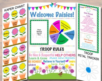 Daisy Kaper Chart & Meeting Display Board INSTANT + EDITABLE Daisy Troop Leader Forms, Daisy Meetings, Welcome Printable Panels